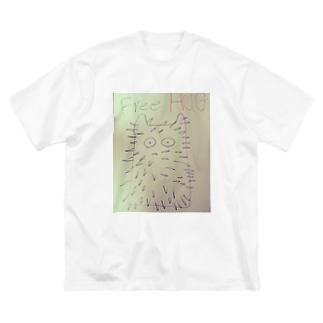 トゲトゲねこフリーハグTシャツ Big silhouette T-shirts