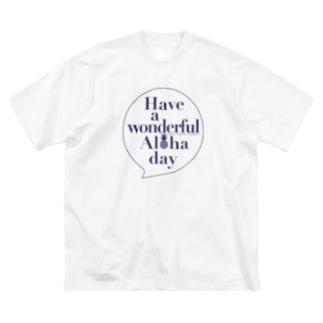 吹き出しロゴ Have a wonderful Aloha day142(NAVY) Big silhouette T-shirts