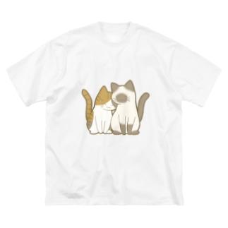 表裏印刷 仲良し猫 縞三毛&ポインテッド Big silhouette T-shirts