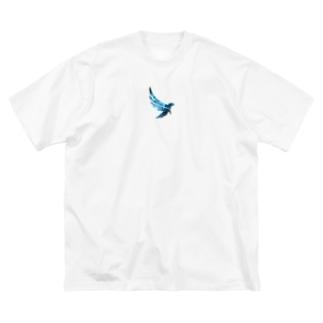 「青い鳥柄」オーバーサイズ Big silhouette T-shirts