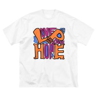 (Love+Peace)×Hope Big silhouette T-shirts
