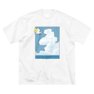 Ahiru can fly in the sky. Big silhouette T-shirts