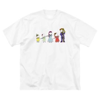 フルートファミリー with コントラ男子 Big silhouette T-shirts