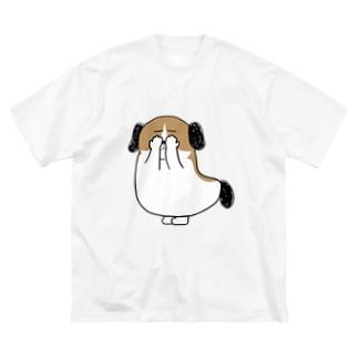 もじゃまる目隠し Big silhouette T-shirts