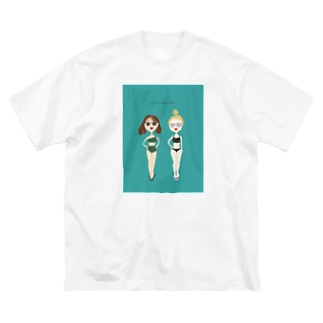 夏の水着の女の子 Big silhouette T-shirts