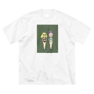 夏の水着の女の子その2 Big silhouette T-shirts