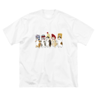 かぶりもの猫 Big silhouette T-shirts