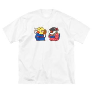 オカメカップルの縁日デート Big silhouette T-shirts