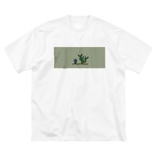 サボテンになりたいウクレレ Big silhouette T-shirts