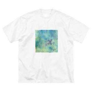 水たまりの紫陽花 Big silhouette T-shirts