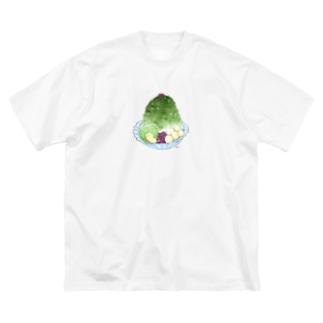 抹茶かき氷 Big silhouette T-shirts
