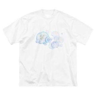 ばすてのシャボン玉ミズクラゲ Big silhouette T-shirts