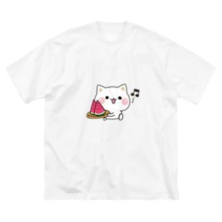 気づかいのできるネコ スイカver. Big silhouette T-shirts