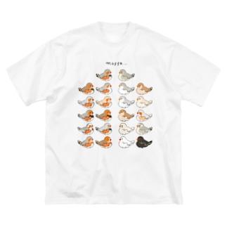 エンガワが爆発するキンカチョウ(集合) Big silhouette T-shirts
