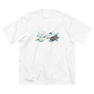 しろくろ水彩Tシャツ Big silhouette T-shirts