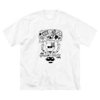 リモートワークを曲解した猫 Big silhouette T-shirts