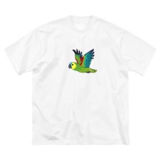 アオボウシインコ Big silhouette T-shirts