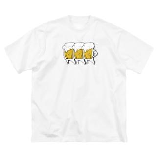 さくら もたけの踊るビールSTEP2 Big silhouette T-shirts