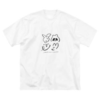 こぶたたぬききつねねこ(モノクロ) Big silhouette T-shirts