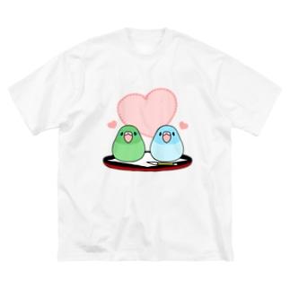 まめ大福マメルリハ【まめるりはことり】 Big silhouette T-shirts