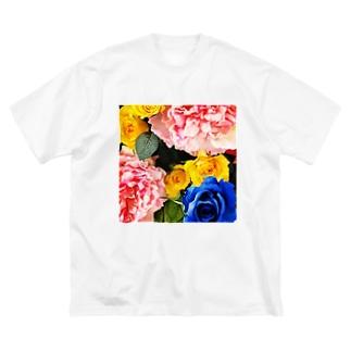 ビビッド造花Tシャツ Big silhouette T-shirts