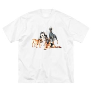 ちょっぴり強面の大きい犬たち。 Big silhouette T-shirts