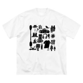キャンプ大好きじゃろ(大サイズ) Big silhouette T-shirts
