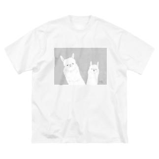 勝ち誇りアルパカ Big silhouette T-shirts