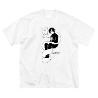 まきつきもふ Big silhouette T-shirts
