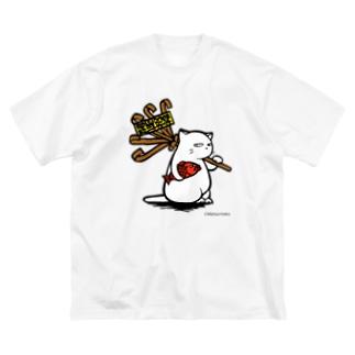 酉の市白猫 Big silhouette T-shirts