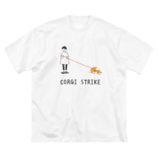 動かないコーギー Big silhouette T-shirts