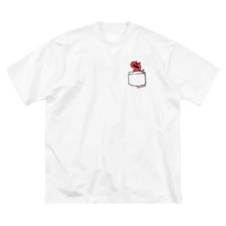 恐竜グランプリ@ポケット_カルノタウルス Big silhouette T-shirts