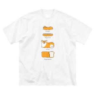 パンとうさぎとコーギーと Big silhouette T-shirts