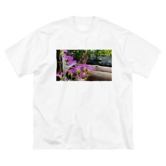 庭の紫片喰 Big silhouette T-shirts