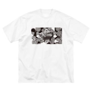 アジT メガネカイマン Big silhouette T-shirts