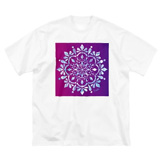 MANDARA-purple&light blue- Big silhouette T-shirts