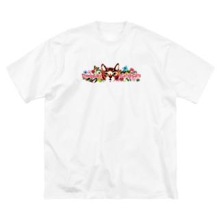 松山征シローのにゃんころグッズ 減色Ver. Big silhouette T-shirts