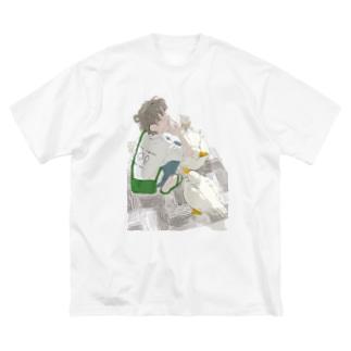 アヒルとソフトクリーム その2 Big silhouette T-shirts
