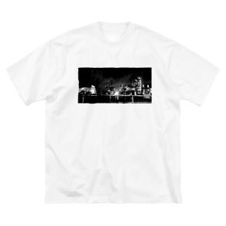 夜の工場 Big silhouette T-shirts