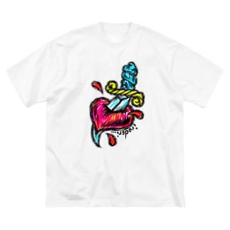 ハート直撃 Big silhouette T-shirts