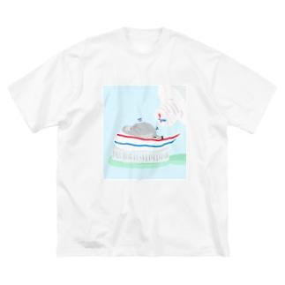 歯磨きハトくん Big silhouette T-shirts
