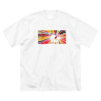 Danke Shoot Coffeeの仙台の七夕飾りを見上げたら飛行少女 Big silhouette T-shirts