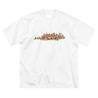 虹の街 Big silhouette T-shirts