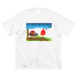 朝日 Big silhouette T-shirts