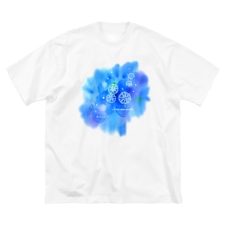 サカサクラゲと海の花 Big silhouette T-shirts