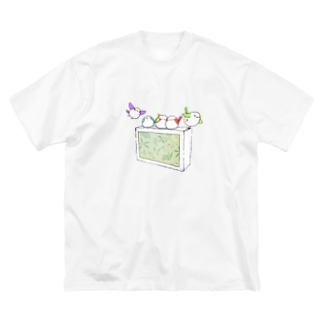 シガーエナガ Big silhouette T-shirts