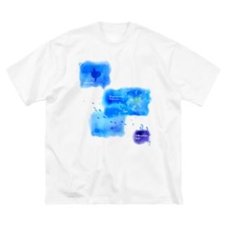 Hi*roomのウリクラゲとマンボウとチンアナゴの四角い海 Big silhouette T-shirts