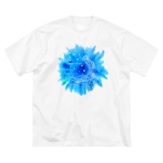 アカクラゲと星がはじける海 Big silhouette T-shirts