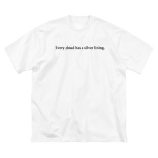 雨の日T(黒文字) Big silhouette T-shirts
