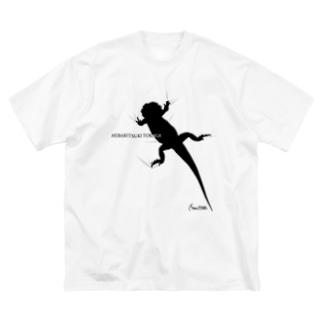 へばりつきトカゲ Big silhouette T-shirts
